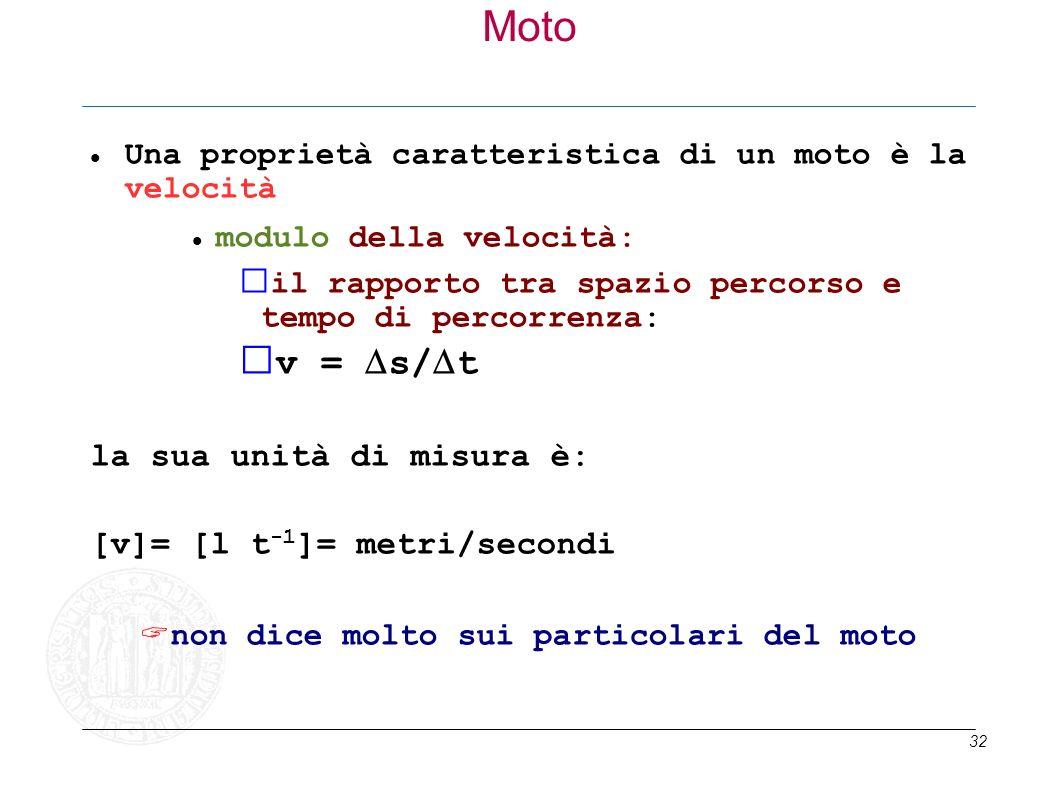 Moto v = Ds/Dt la sua unità di misura è: [v]= [l t-1]= metri/secondi